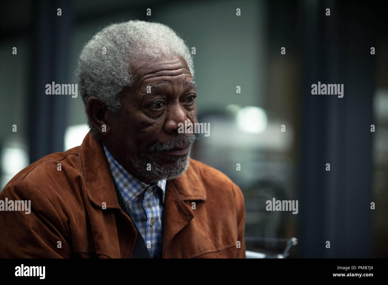 MORGAN FREEMAN as Joseph Tagger in Alcon Entertainment's sci-fi thriller 'TRANSCENDENCE,' a Warner Bros. Pictures release. - Stock Image