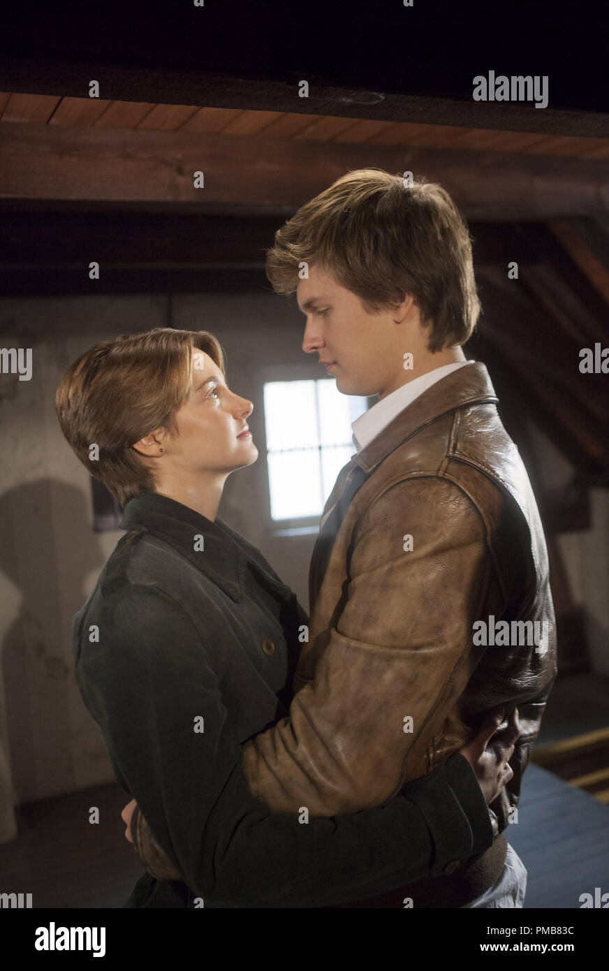 """Hazel (Shailene Woodley) and Gus (Ansel Elgort) share a tender moment during a memorable trip abroad in """"The Fault in Our Stars"""" (2014) Stock Photo"""