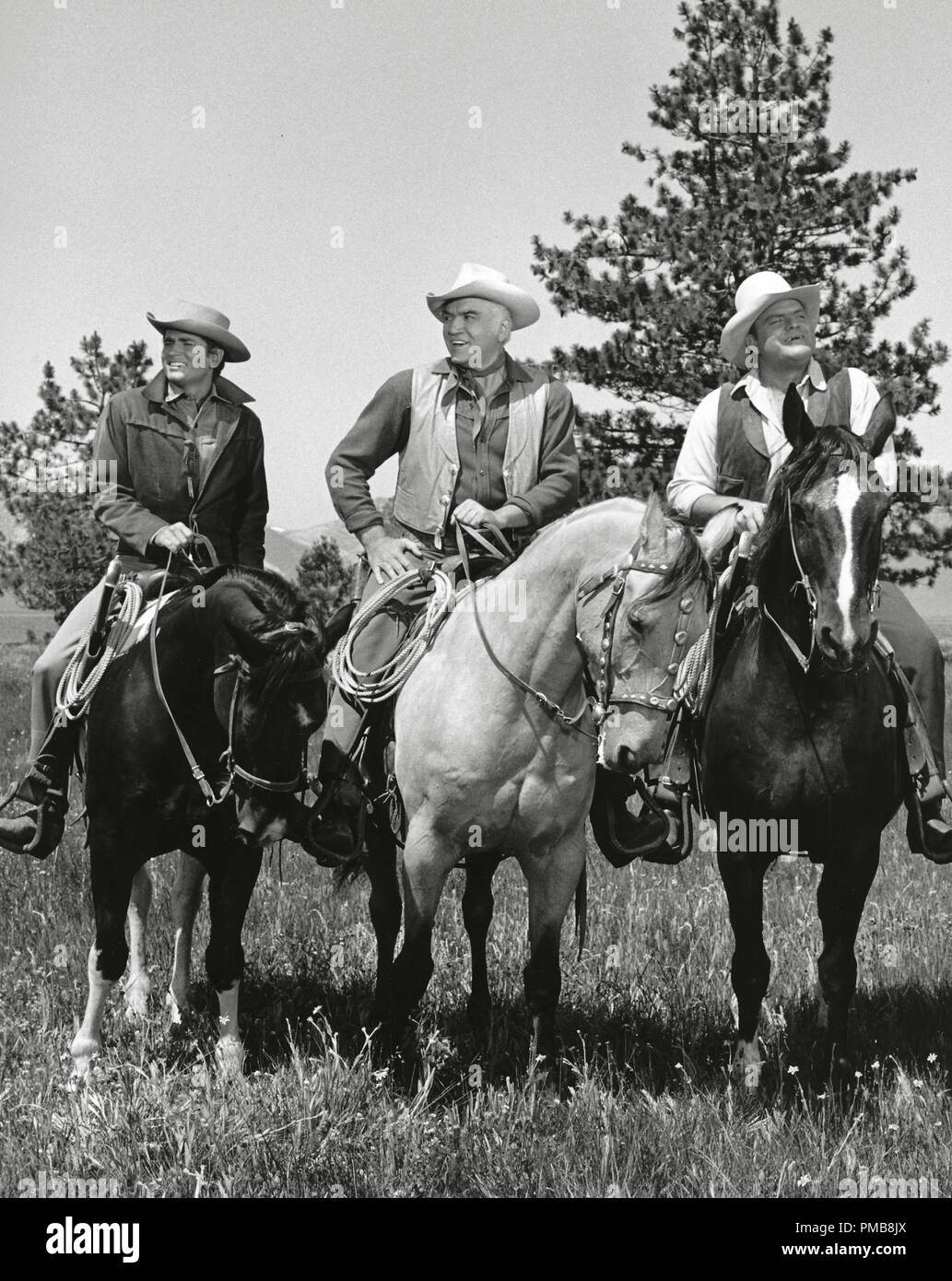 "Michael Landon, Lorne Greene, Dan Blocker, ""Bonanza"" circa 1962   File Reference # 32337 251THA Stock Photo"
