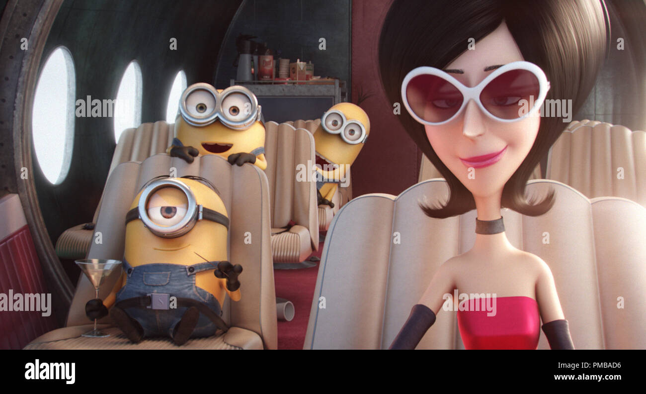 Minions 2015 L To R Stuart Bob And Kevin Hitch A Ride With Scarlet Overkill Voiced By Sandra Bullock The First Ever Female Super Villain In Minions Universal Pictures And Illumination Entertainment S Comedy