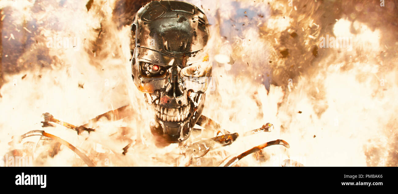 Series T-800 Robot in Terminator Genisys from Paramount Pictures and Skydance Productions - Stock Image