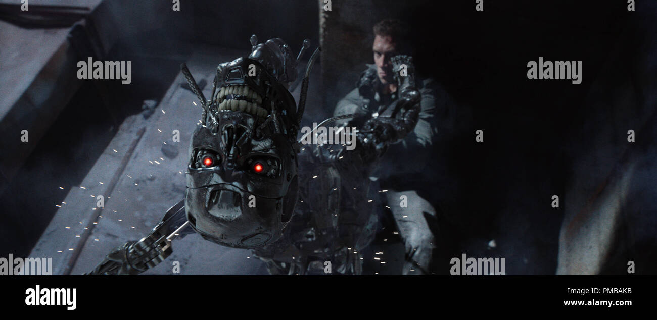 Left to right: Series T-800 Robot and Jai Courtney plays Kyle Reese in Terminator Genisys from Paramount Pictures and Skydance Productions. - Stock Image