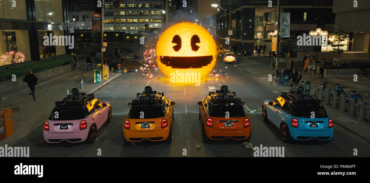 Inky, Blinky, Clyde and Pinky take on Pac-Man in Columbia Pictures' PIXELS. - Stock Image