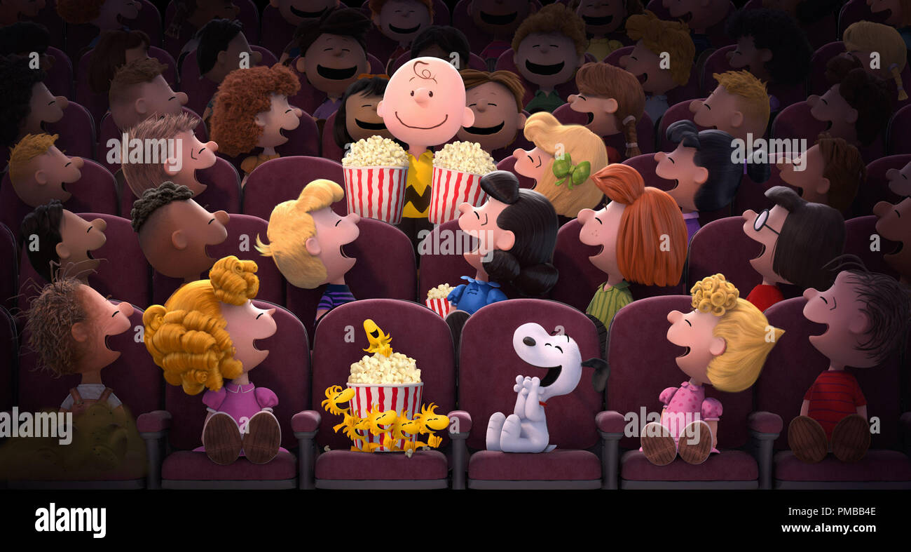Charlie Brown, Snoopy and the rest of the Peanuts gang are looking forward to their all-new CGI motion picture in 'The Peanuts Movie', 2015 20th Century Fox - Stock Image