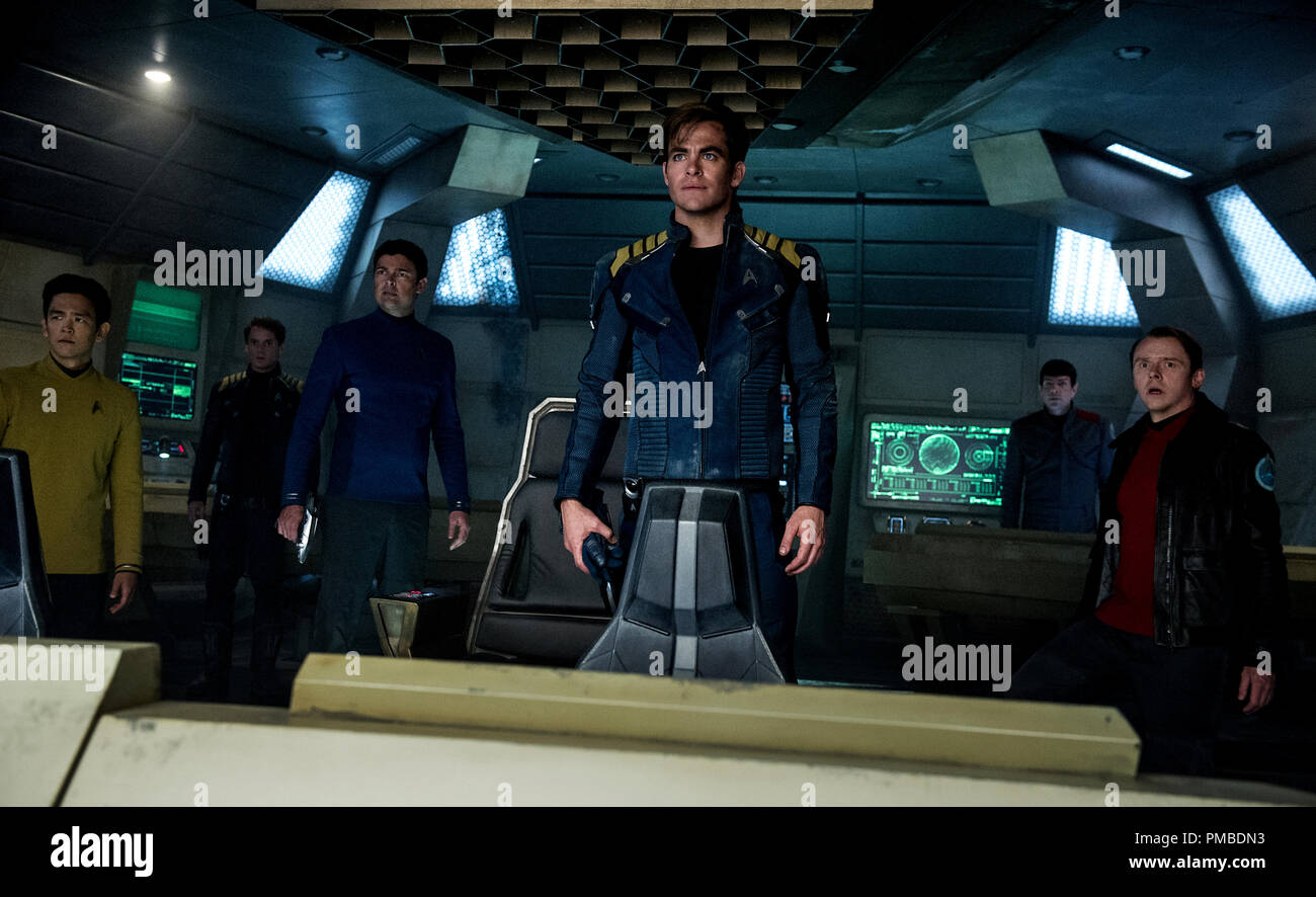 Left to right: John Cho plays Sulu, Anton Yelchin plays Chekov, Karl Urban plays Bones, Chris Pine plays Kirk, Zachary Quinto plays Spock and Simon Pegg plays Scotty in Star Trek Beyond from Paramount Pictures, Skydance, Bad Robot, Sneaky Shark and Perfect Storm Entertainment - Stock Image