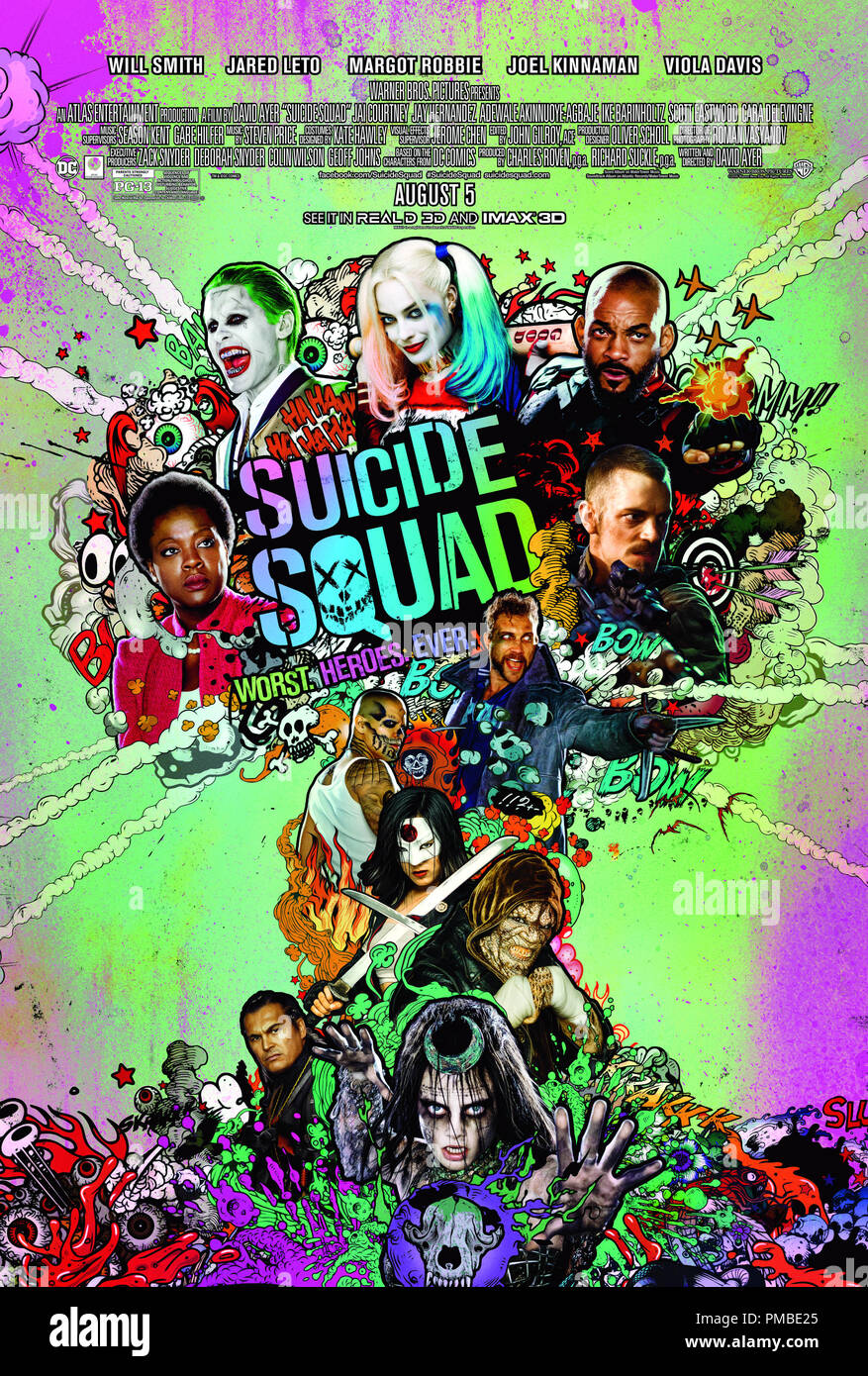 Warner Bros. Pictures' action adventure 'SUICIDE SQUAD,' a Warner Bros. Pictures release. Poster - Stock Image