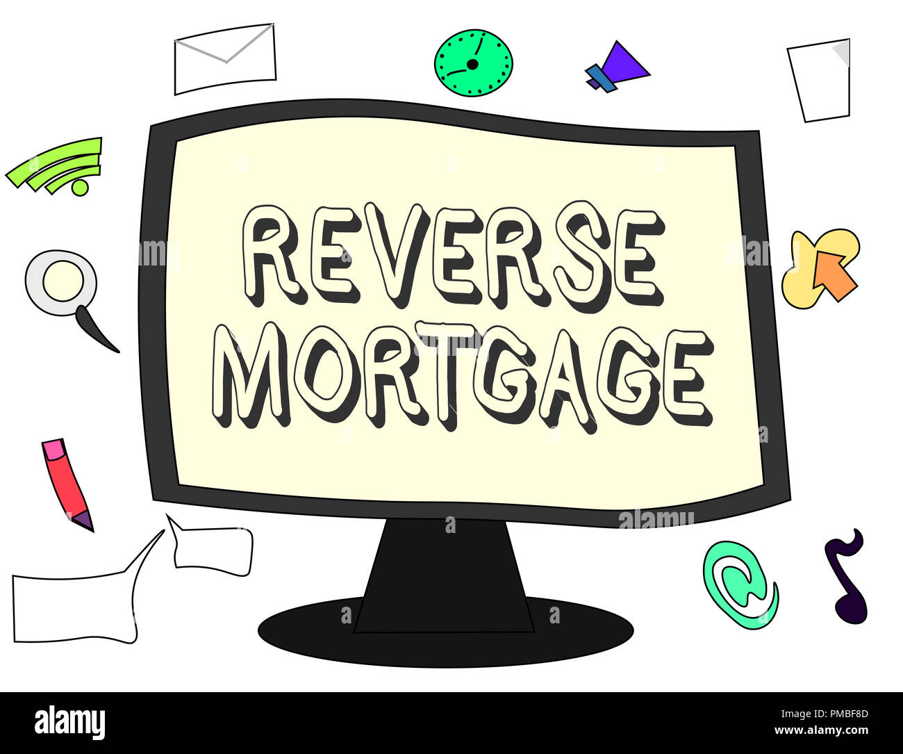 Conceptual hand writing showing Reverse Mortgage. Business photo showcasing loan for seniors age above sixties and older to be returned. - Stock Image