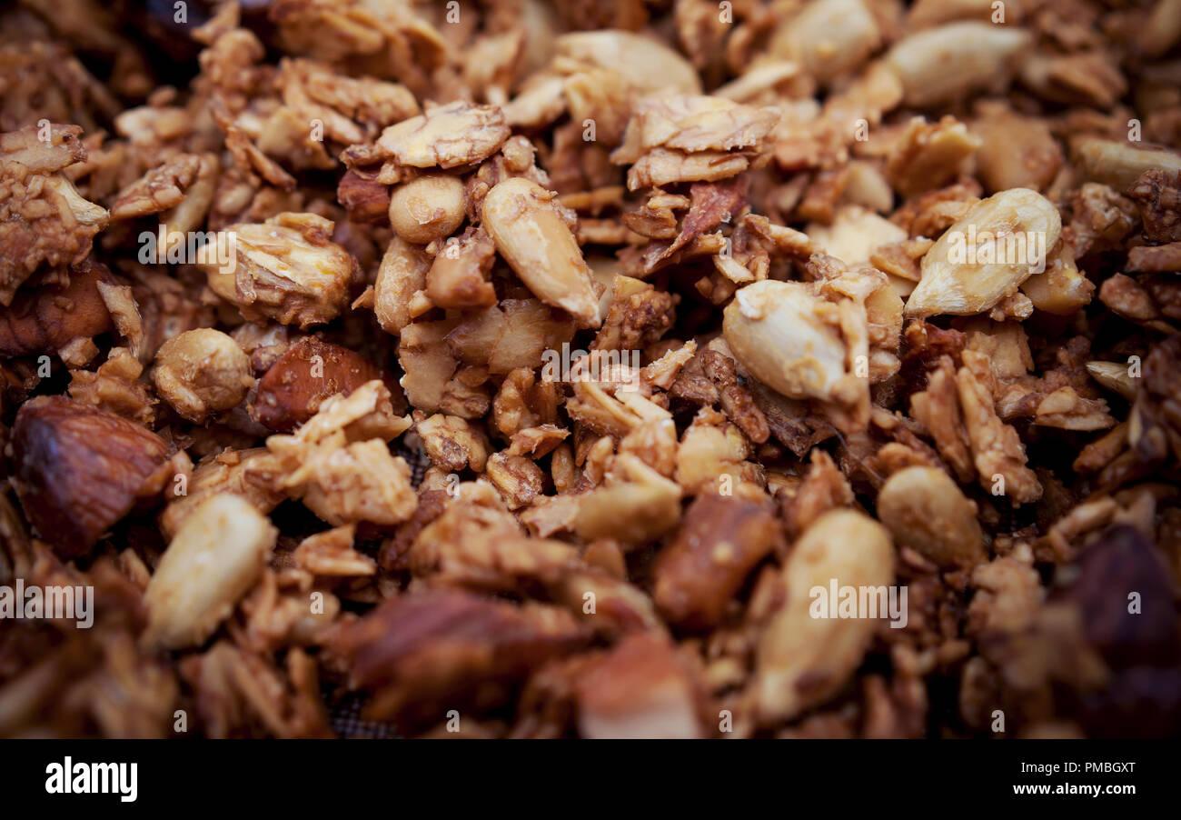 Freshly Toasted Organic Homemade Granola Cereal, Muesli Mixed With Honey, Nuts.