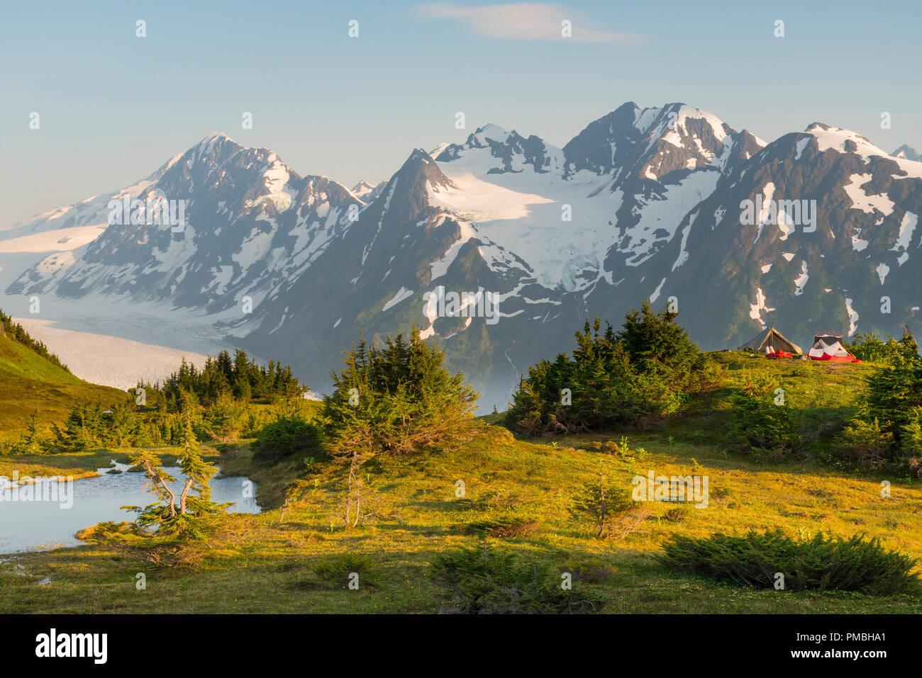 Backpacking to the Spencer Glacier Bench, Chugach National Forest, Alaska. - Stock Image