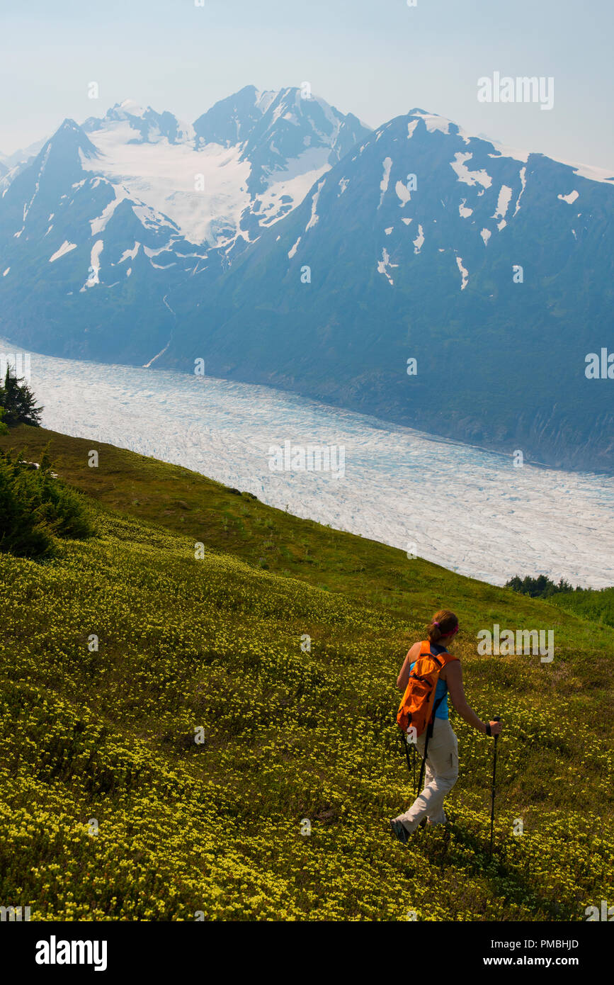 Backpacking trip to the Spencer Glacier Bench, Chugach National Forest, Alaska. - Stock Image