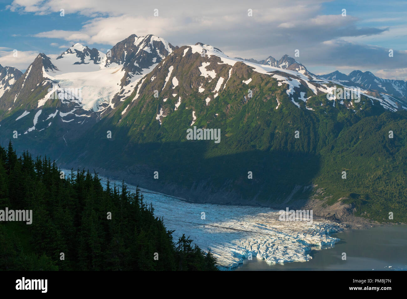 View from Spencer Glacier Bench Cabin, Chugach National Forest, Alaska. - Stock Image