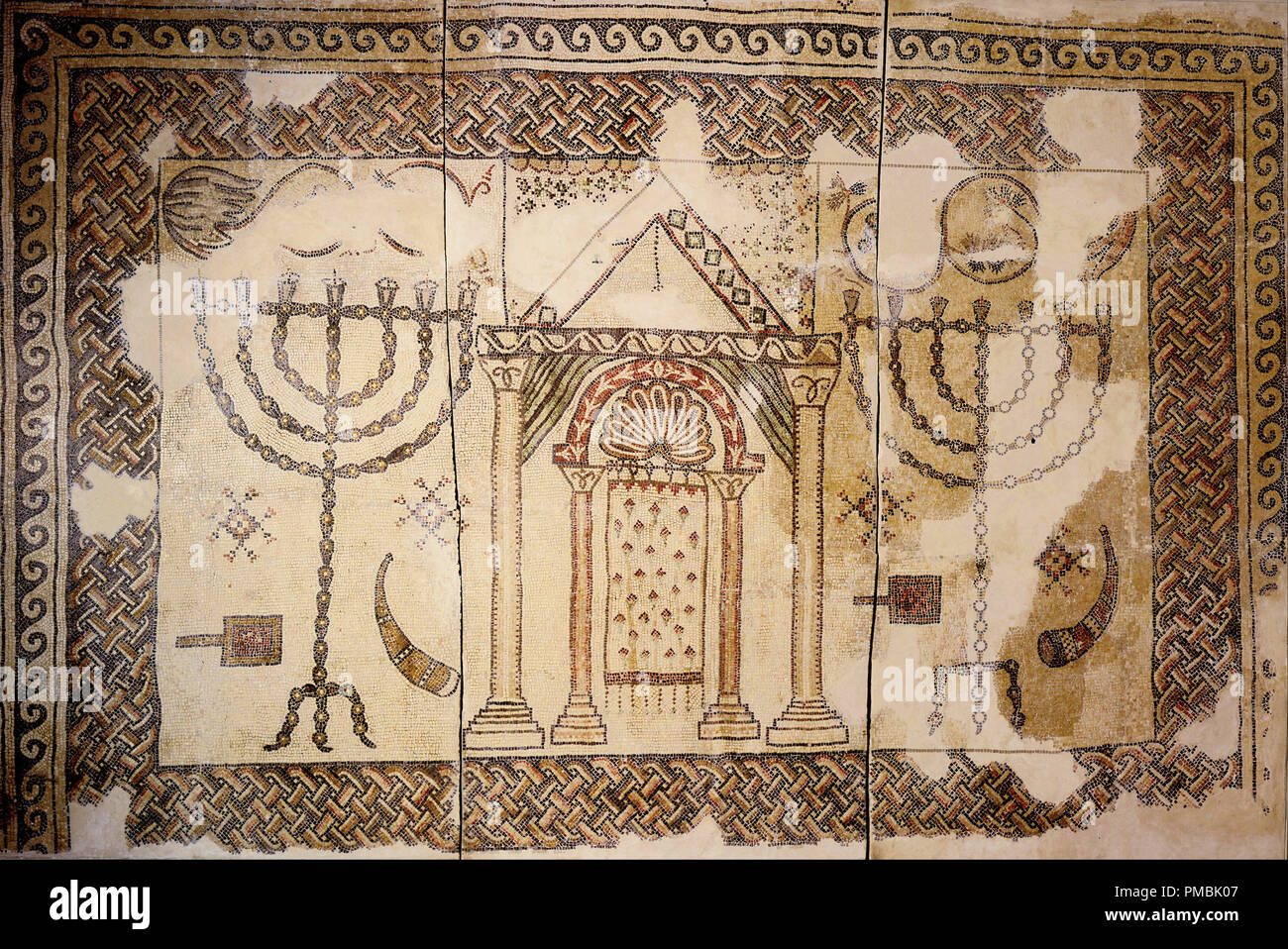 Synagogue floor. Date/Period: Byzantine Period, 5th century - Byzantine Period, 7th century. Mosaic. Stone and glass mosaic Stone and glass mosaic. Author: UNKNOWN. - Stock Image