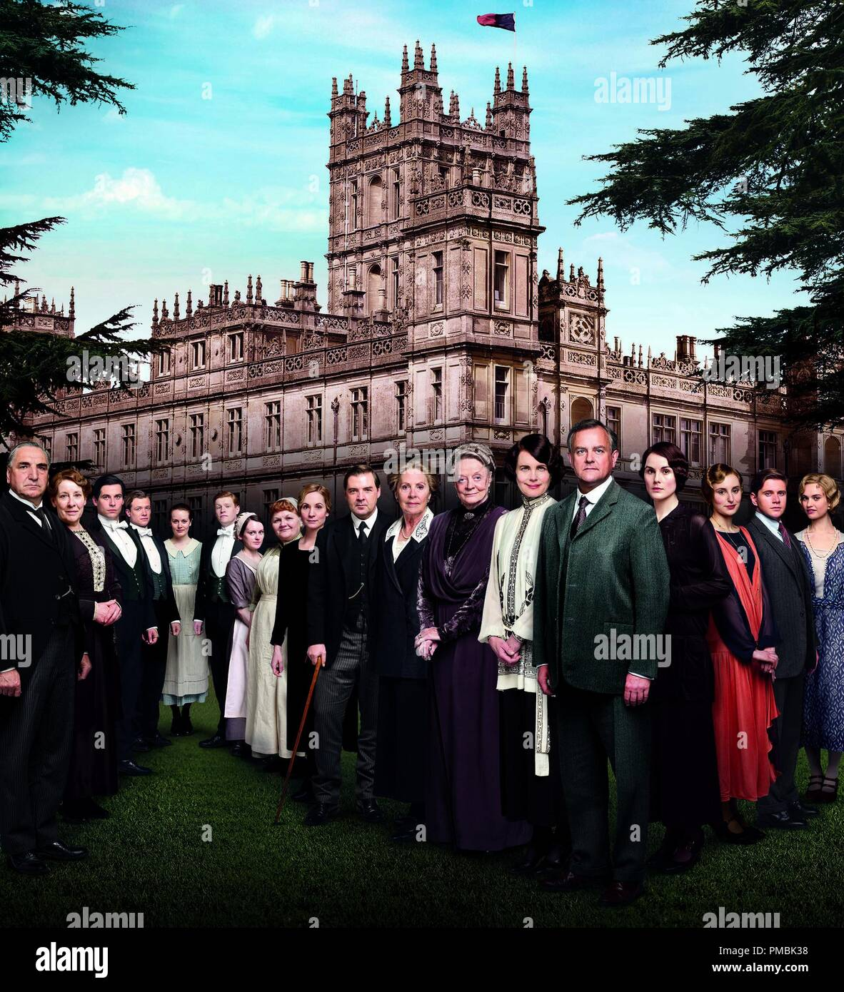 Downton Abbey Season 4  Season 4 of the international hit Downton Abbey finds aristocrats and servants coping with last season's shocking finale. The acclaimed ensemble is back, including Dame Maggie Smith, Elizabeth McGovern, Hugh Bonneville, Michelle Dockery, Jim Carter,  Penelope Wilton, and Laura Carmichael - together with returning guest star Academy Award-winner Shirley MacLaine and new guest star Paul Giamatti. - Stock Image