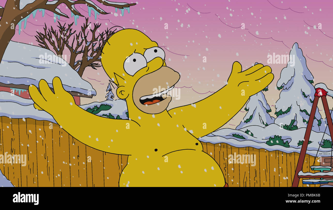 THE SIMPSONS: A radiation leak at the nuclear power plant causes a strange phenomenon that makes Springfield the only place with snow for the holidays - Stock Image
