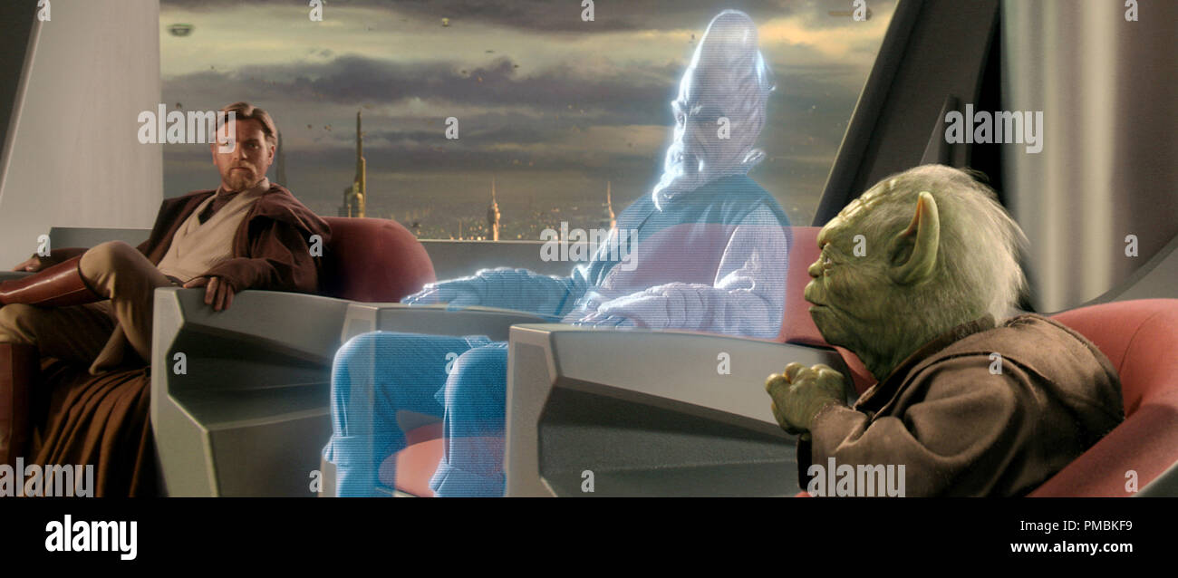 Jedi Ki-Adi-Mundi (played by actor Silas Carson) appears as a hologram from a distant planet during an important meeting of the Jedi Council attended by, among others, Yoda and Obi-Wan Kenobi (actor Ewan McGregor) in Star Wars: Episode III Revenge of the Sith. TM & © 2005 Lucasfilm Ltd. All Rights Reserved. - Stock Image