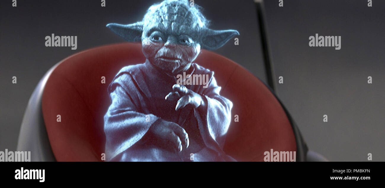 A Hologram Of Jedi Master Yoda Reports In To The Jedi Council On How A Battle