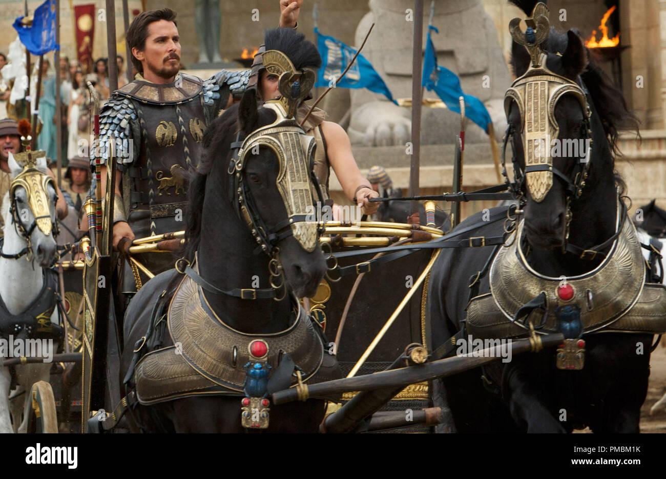 'Exodus: Gods and Kings' (2014) Moses (Christian Bale) rides triumphantly into battle. - Stock Image