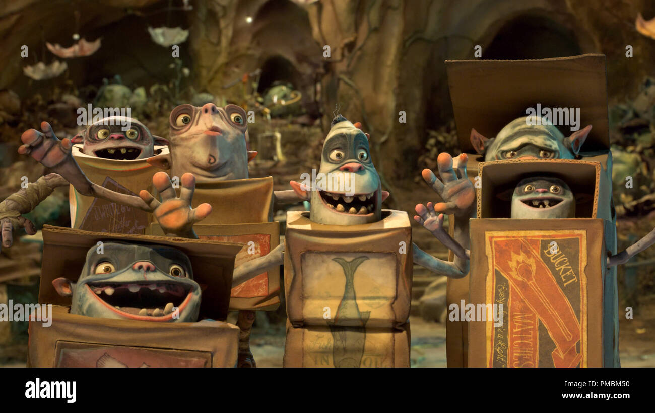 The Boxtrolls are a community of quirky, mischievous creatures in LAIKA and Focus Features' family event movie THE BOXTROLLS - Stock Image