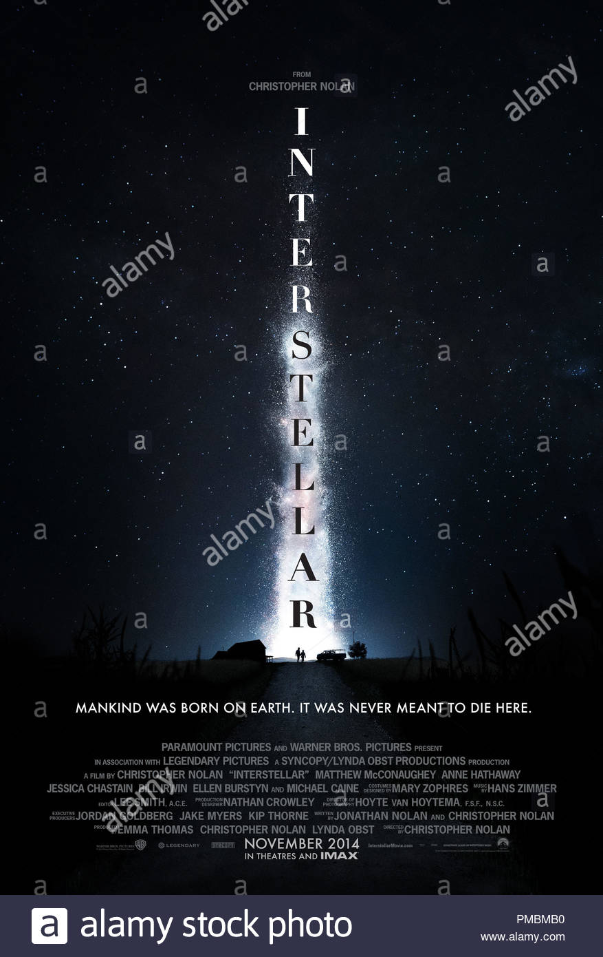 INTERSTELLAR, from Paramount Pictures and Warner Brothers Pictures, in association with Legendary Pictures Poster - Stock Image