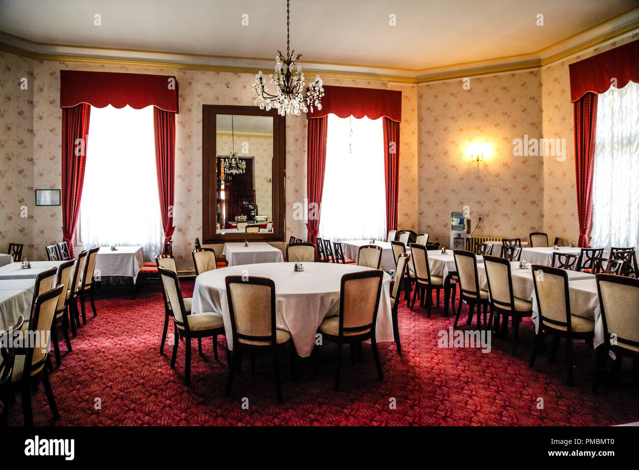 The Dining Room With Red Carpet At The Hotel Imperial In Opatija
