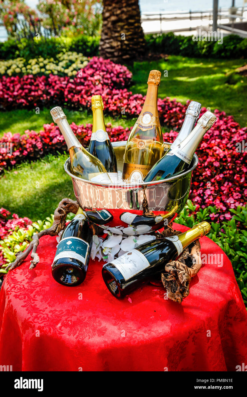 Beautiful Gardens On The Grounds Of The Amadria Park Hotel Sveti Jakov Displaying Champagne Bottles In An Ice Bucket In Opatija Croatia Stock Photo Alamy