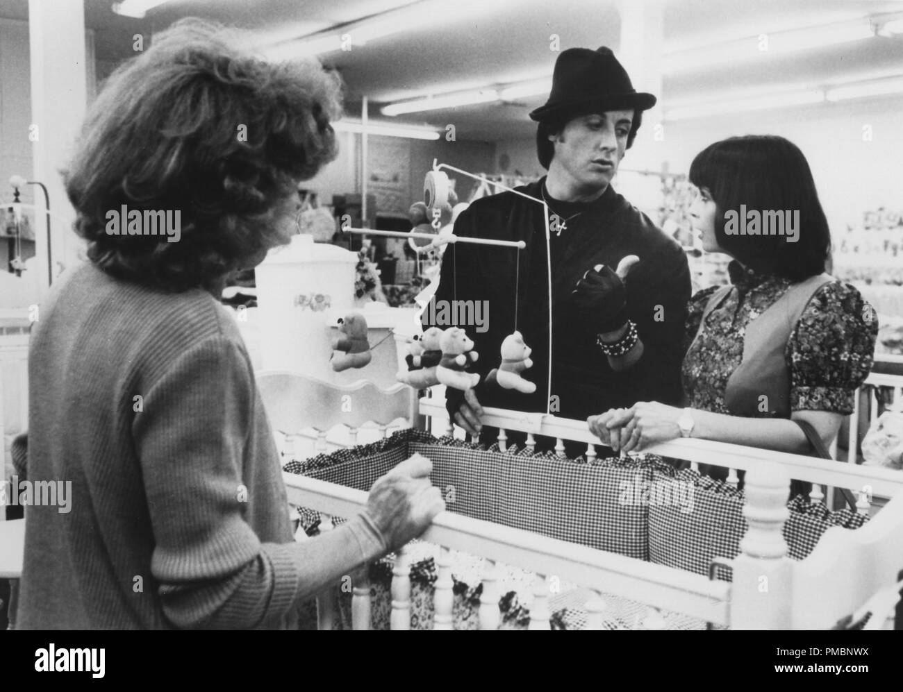 Sylvester Stallone as Rocky Balboa and Talia Shire as Adrian in 'Rocky II', 1979 MGM   File Reference # 32603_094THA - Stock Image