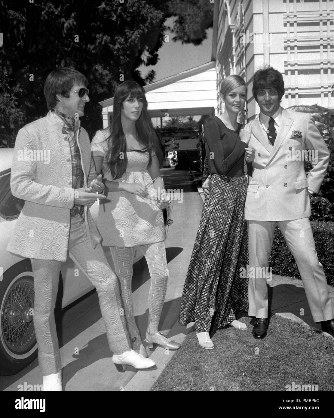 545db3b8ec3 Sonny Bono, Cher, Twiggy and Justin de Villeneuve (Twiggy's boyfriend and  manager), at a party held at the house of Sonny and Cher on May 15, ...