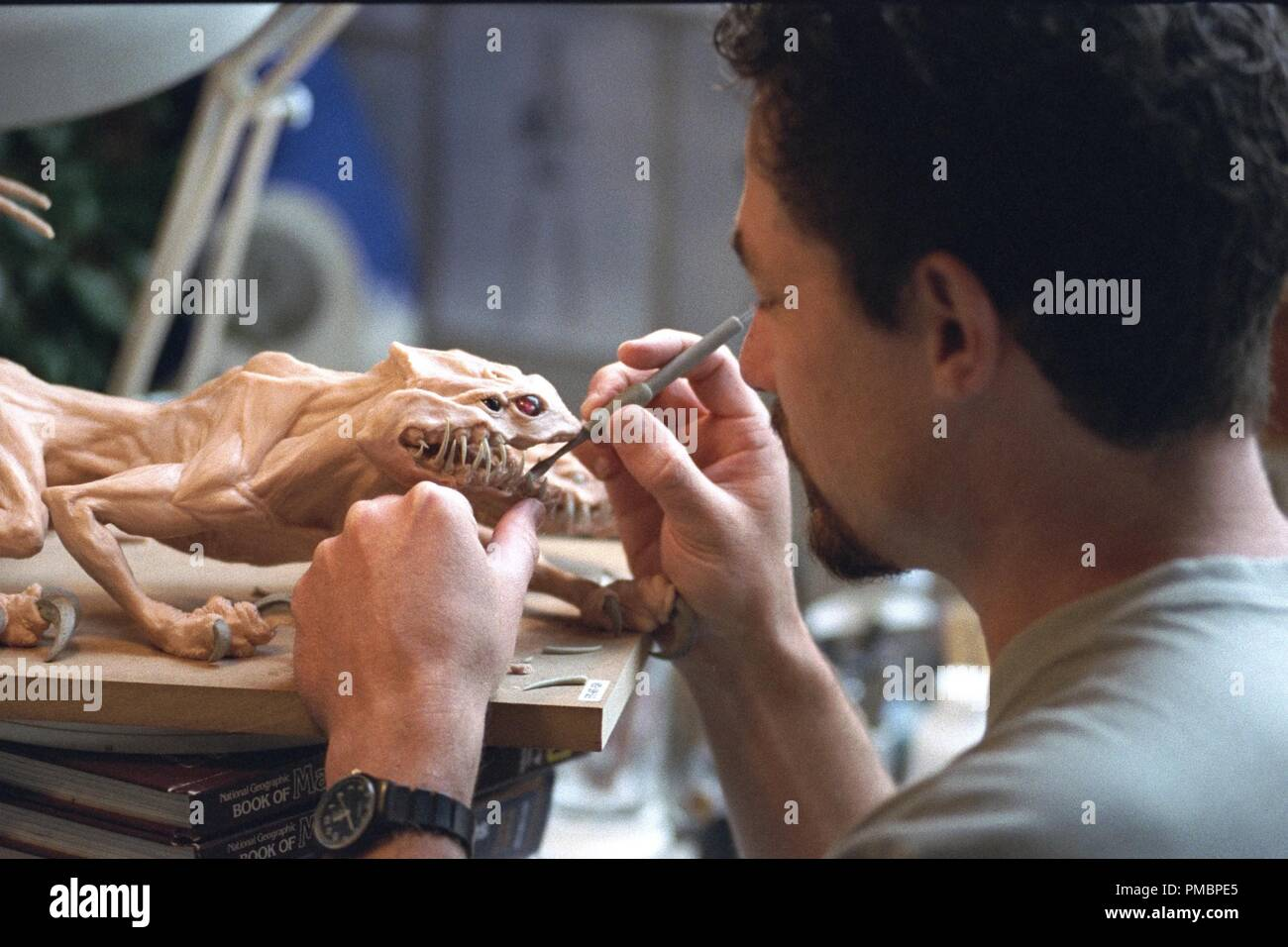 "Sculpting a Maquette of the Nexu in ""Star Wars Episode II: Attack of the Clones"" (2002)  File Reference # 32603 456THA Stock Photo"