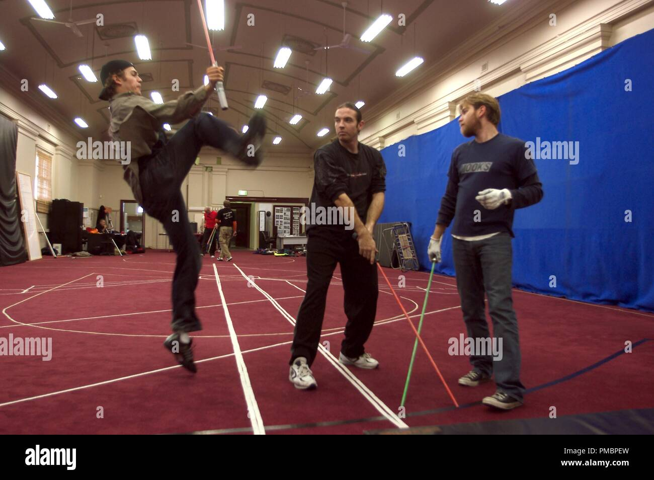 Hayden Christensen and Ewan McGregor practice choreography in 'Star Wars Episode III: Revenge of the Sith' (2005)  File Reference # 32603_473THA - Stock Image