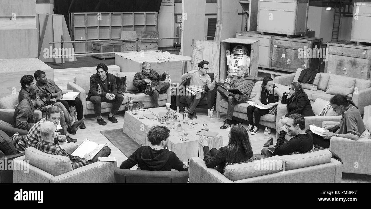 Star Wars: The Force Awakens. April 29th, Pinewood Studios, UK. Writer/Director/Producer J.J. Abrams (top center right) at the cast read-through of Star Wars: Episode VII at Pinewood Studios with (clockwise from right) Harrison Ford, Daisy Ridley, Carrie Fisher, Peter Mayhew, Producer Bryan Burk, Lucasfilm President and Producer Kathleen Kennedy, Domhnall Gleeson, Anthony Daniels, Mark Hamill, Andy Serkis, Oscar Isaac, John Boyega, Adam Driver and Writer Lawrence Kasdan...Ph: David James..© 2015 Lucasfilm Ltd. & TM. All Rights Reserved - Stock Image