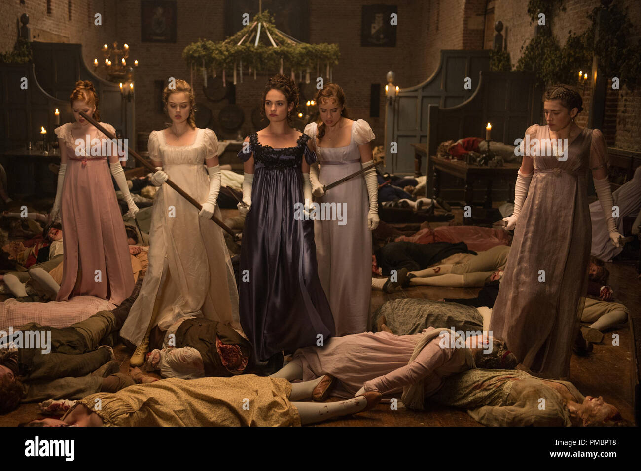 (l to r) Ellie Bamber, Bella Heathcote, Lily James, Suki Waterhouse and Millie Brady in Screen Gems' PRIDE AND PREJUDICE AND ZOMBIES. - Stock Image