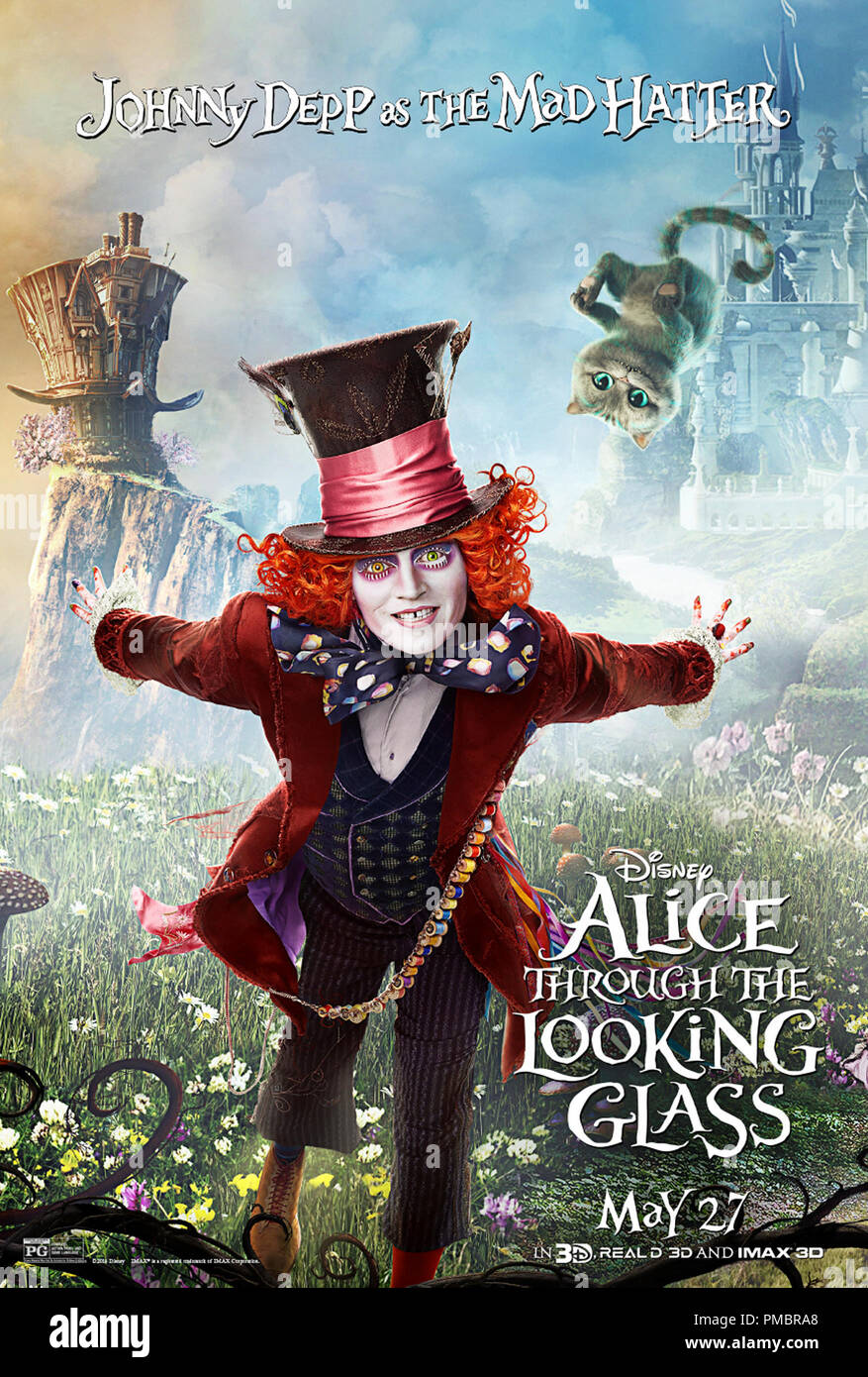 'Alice Through The Looking Glass' (2016) Poster  Mad Hatter (Johnny Depp) - Stock Image