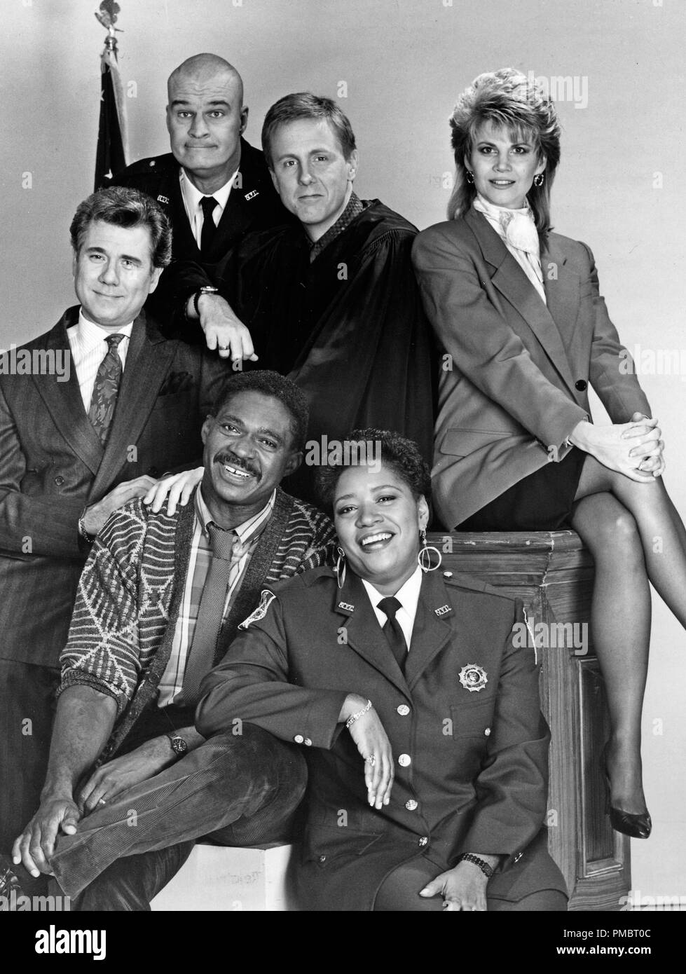 Studio Publicity Still from 'Night Court'  John Larroquette, Richard Moll, Harry Anderson, Markie Post, Marsha Warfield and Charles Robinson  1987  All Rights Reserved   File Reference # 32914_158THA  For Editorial Use Only - Stock Image