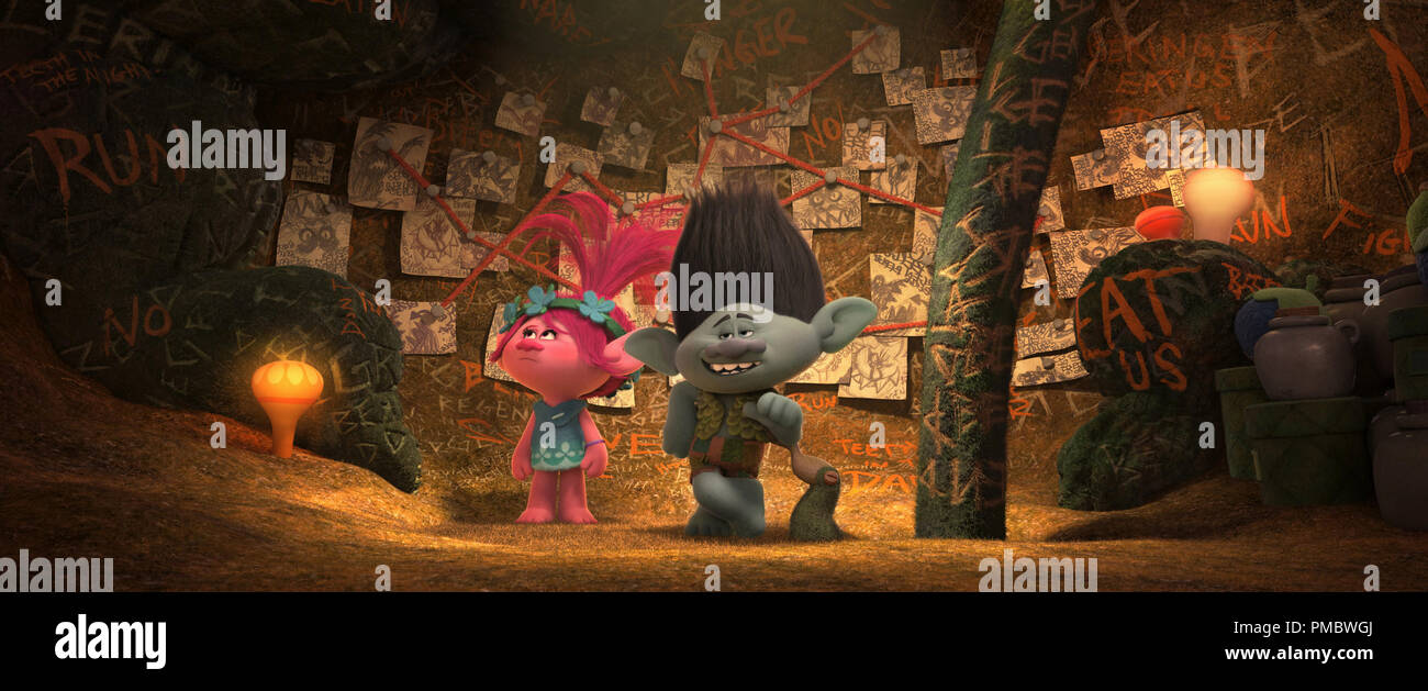 The overly cautious Troll Branch (R, voiced by Justin Timberlake) shows off his Fear Bunker to optimistic Troll Poppy (L, voiced by Anna Kendrick) in DreamWorks Animation's TROLLS. - Stock Image