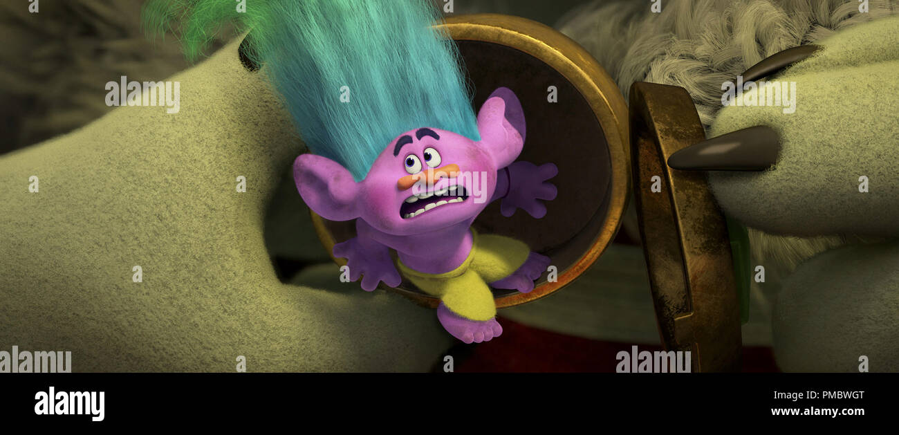 Normally Zen-like Troll Creek (voiced by Russell Brand) lands in hot water in DreamWorks Animation's TROLLS. - Stock Image