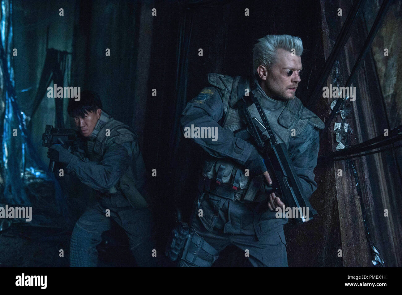 Chin Han Plays Togusa And Pilou Asbaek Plays Batou In Ghost In The Shell From Paramount Pictures And Dreamworks Pictures 2017 Stock Photo Alamy