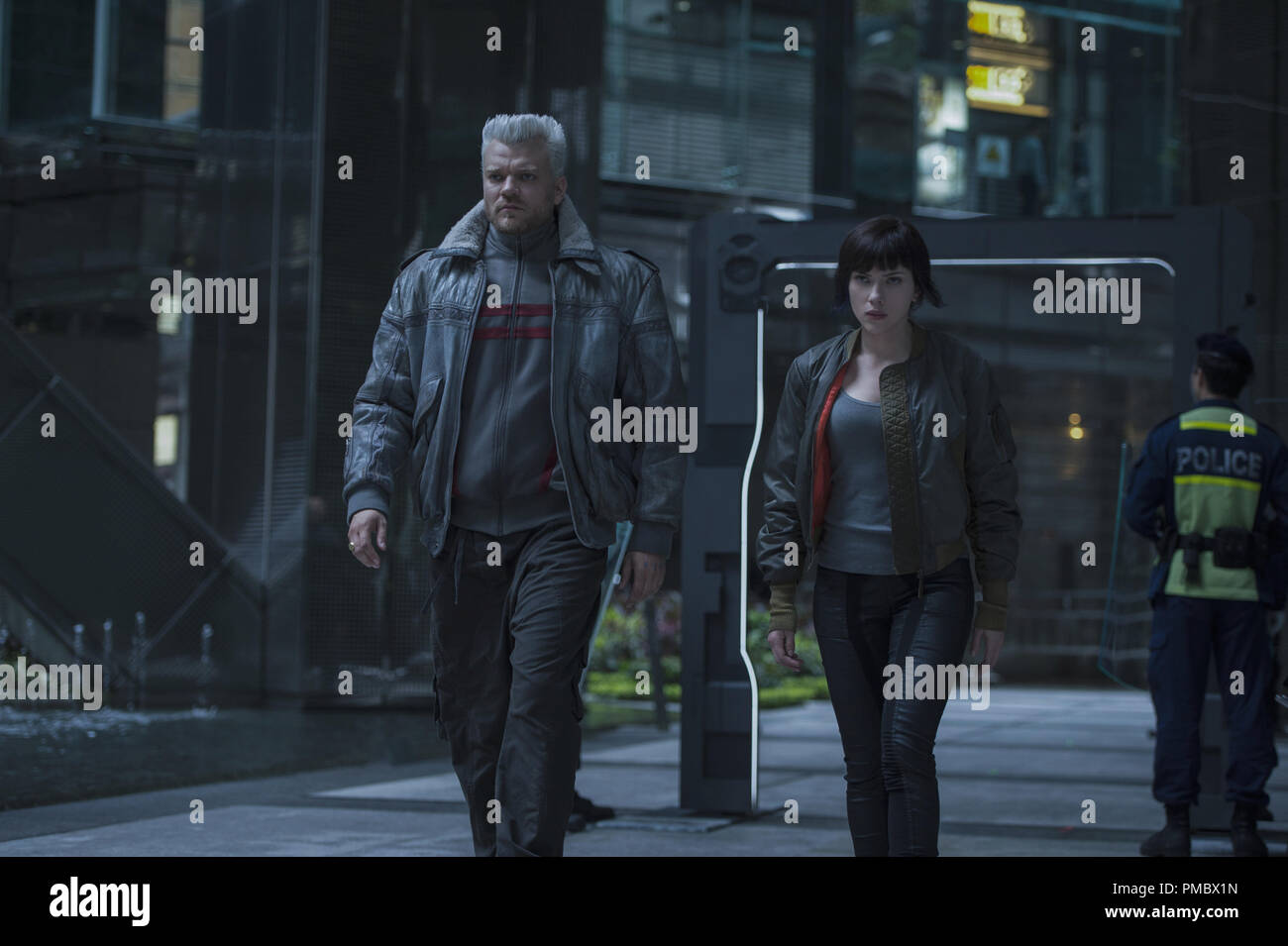 Scarlett Johansson Plays The Major And Pilou Asbaek Plays Batou In Ghost In The Shell From Paramount Pictures And Dreamworks Pictures 2017 Stock Photo Alamy