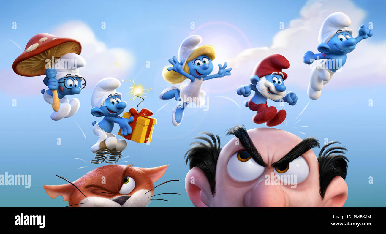 The alll-new, fully CG animated feature SMURFS: THE LOST VILLAGE by Columbia Pictures and Sony Pictures Animation, coming to theaters worldwide in March 2017. - Stock Image
