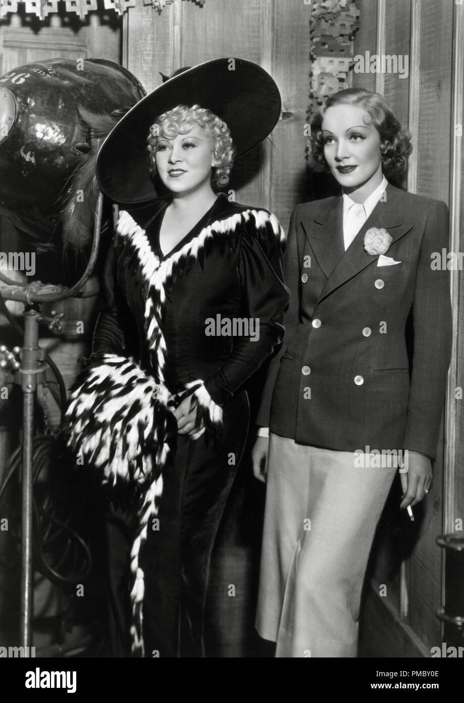 Mae West and Marlene Dietrich, circa 1936 File Reference # 33300_207THA - Stock Image