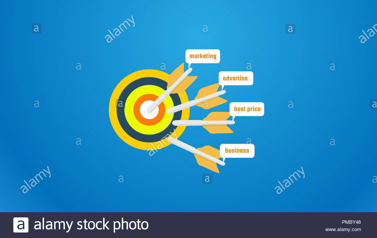 big target with marketing sign  with text written marketing,advertise,best price,business flat design - Stock Image