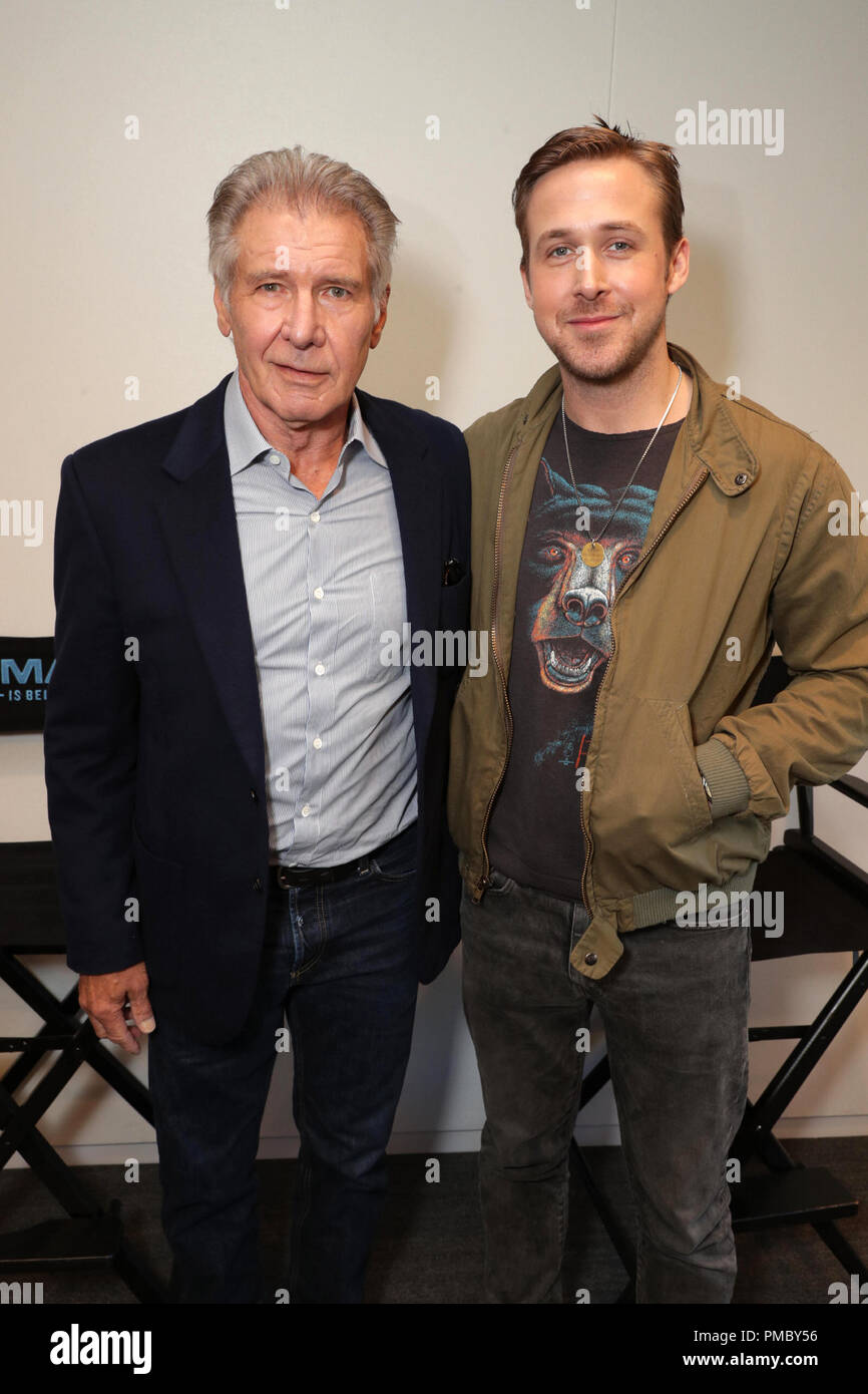 (L-R) Harrison Ford and Ryan Gosling seen at Warner Bros 'Blade Runner 2049' Q & A at the Imax headquarters on Monday, May 8, 2017, in Los Angeles. (2017) - Stock Image