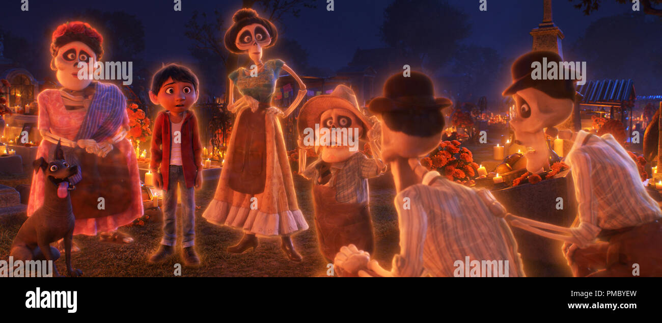 """FAMILY REUNION – In Disney/Pixar's""""Coco,"""" aspiring musician Miguel (voice of Anthony Gonzalez) makes an impulsive choice that sets off a series of events that ultimately lands him in the Land of the Dead where he's able to interact with his late family members, including Tía Rosita (voice of Selene Luna), Tía Victoria, Papá Julio (voice of Alfonso Arau), and Tío Oscar and Tío Felipe (both voiced by Herbert Siguenza). Disney/Pixar's""""Coco"""" opens in U.S. theaters on Nov. 22, 2017. ©2017 Disney•Pixar. All Rights Reserved. - Stock Image"""