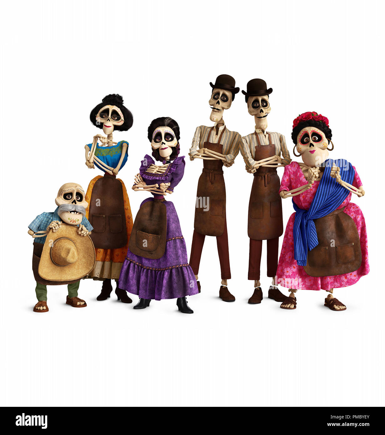 """FUNNY BONES – In Disney/Pixar's """"Coco,"""" several members of the Rivera family call the Land of the Dead home, including (from L-R): Miguel's great-grandfather Papá Julio (voice of Alfonso Arau), Tía Victoria, family matriarch and Miguel's great-great-grandmother Mamá Imelda (voice of Alanna Ubach), identical twin uncles Tío Oscar and Tío Felipe (both voice of Herbert Siguenza) and Tía Rosita (voice of Selene Luna).Directed by Lee Unkrich, co-directed by Adrian Molina and produced by Darla K. Anderson, Disney/Pixar's """"Coco"""" opens in U.S. theaters on Nov. 22, 2017. ©2017 Disney•Pixar. All Rights - Stock Image"""