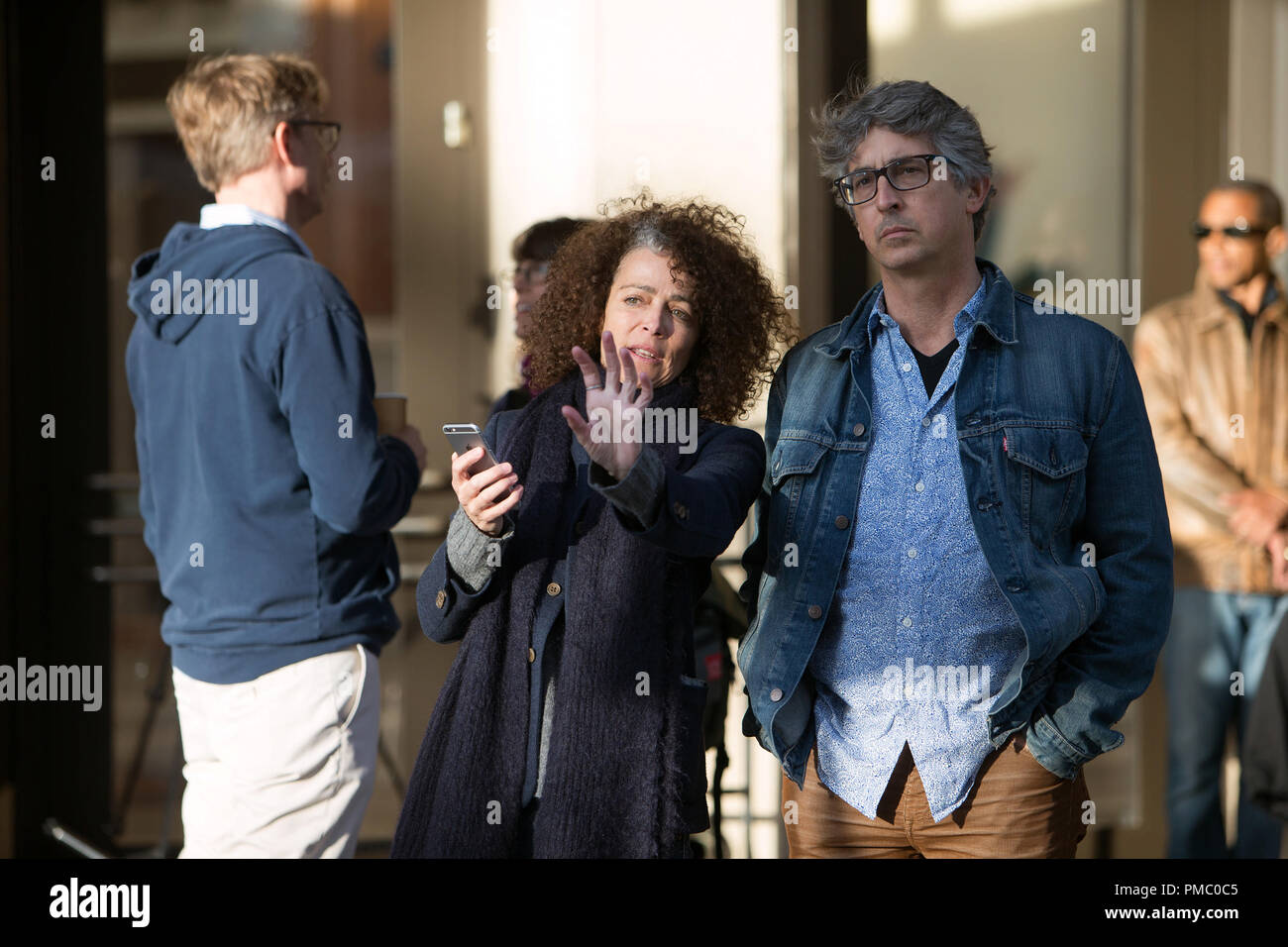 Director Alexander Payne and Production Designer Stefania Cella on the set of Downsizing from Paramount Pictures. (2017) - Stock Image