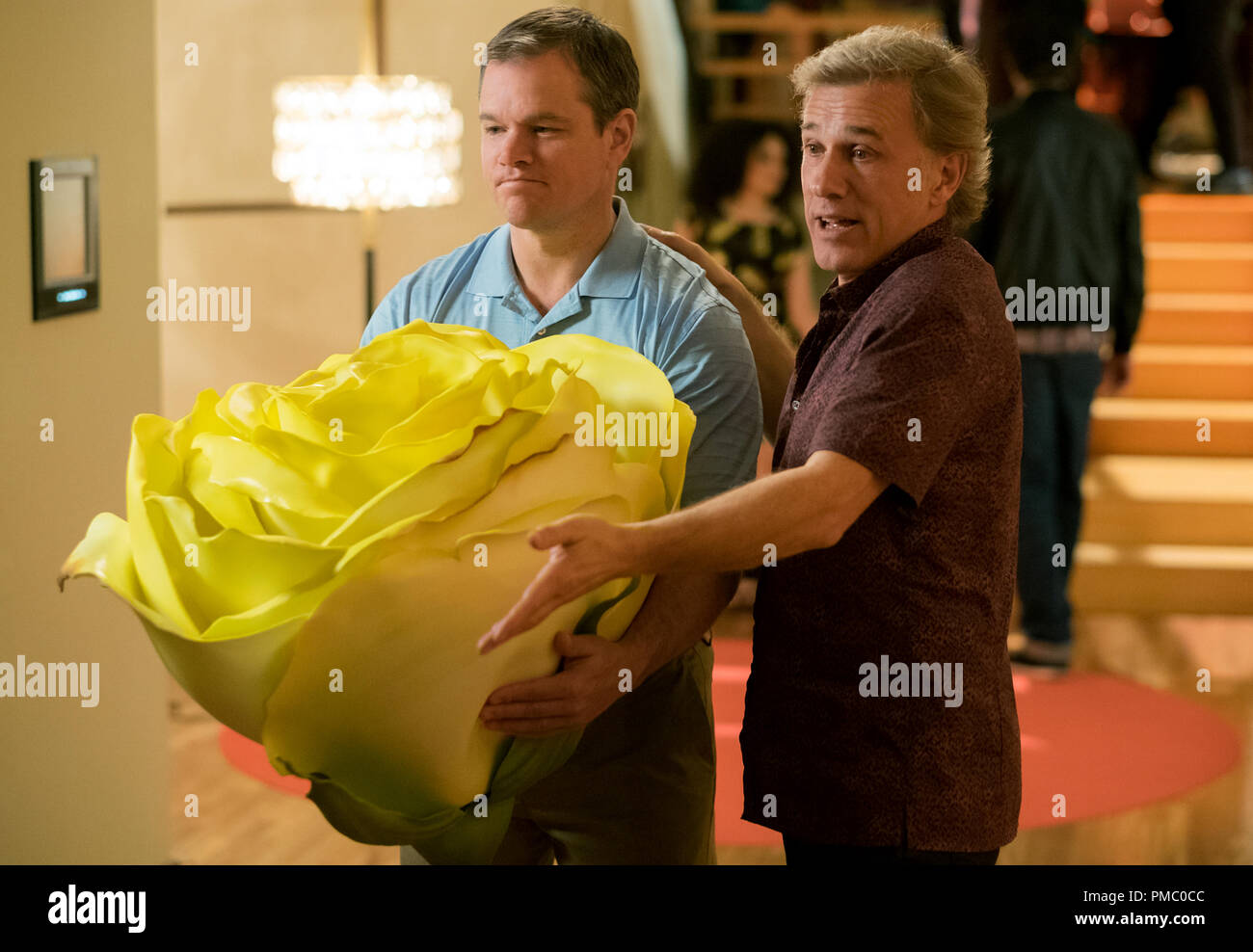 Matt Damon plays Paul and Christoph Waltz plays Dusan in Downsizing from Paramount Pictures. (2017) - Stock Image