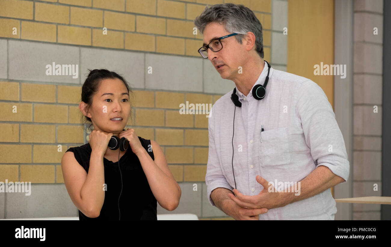 Alexander Payne and Hong Chau on the set of Downsizing from Paramount Pictures. (2017) - Stock Image