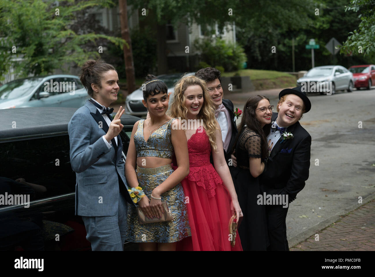 (L to R) Connor (MILES ROBBINS), Kayla (GERALDINE VISWANATHAN), Julie (KATHRYN NEWTON), Austin (GRAHAM PHILLIPS), Sam (GIDEON ADLON) and Chad (JIMMY BELLINGER) in 'Blockers,' the directorial debut of Kay Cannon (writer of the 'Pitch Perfect' series).  When three parents discover their daughters' pact to lose their virginity at prom, they launch a covert one-night operation to stop the teens from sealing the deal. 2018 Universal Studios - Stock Image