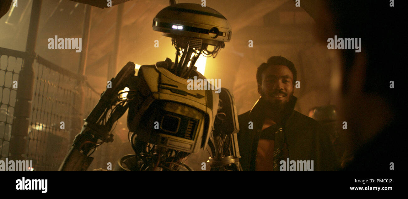 Donald Glover is Lando Calrissian and Phoebe Waller-Bridge is L3-37 in SOLO: A STAR WARS STORY. (2018) Lucasfilm Ltd. Stock Photo