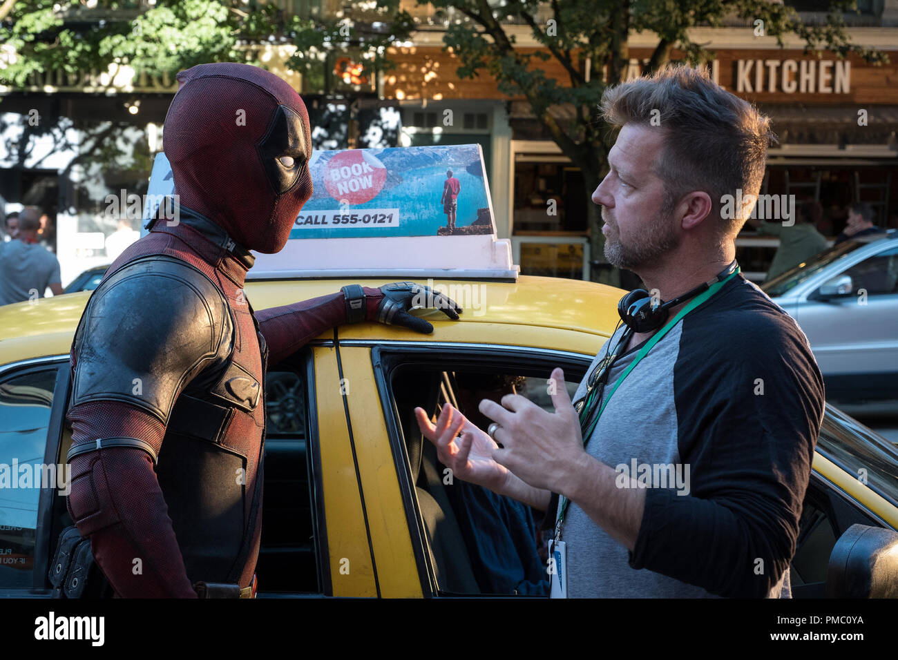 Ryan Reynolds (Deadpool) and Director David Leitch on the set of  DEADPOOL 2 (2018) - Stock Image