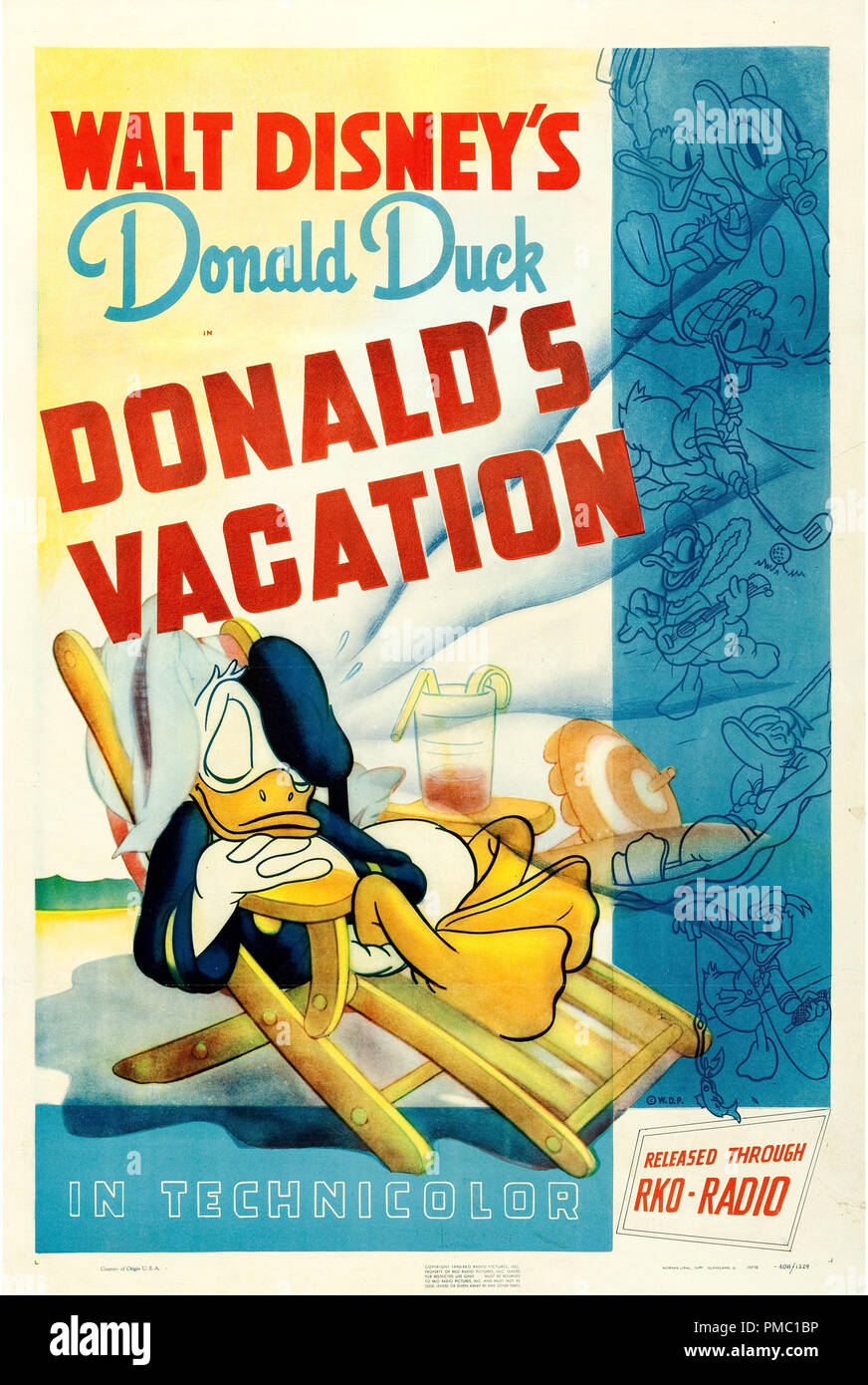 Animated Film,  Donald's Vacation (RKO, 1940). Poster File Reference  # 33595_340THA - Stock Image